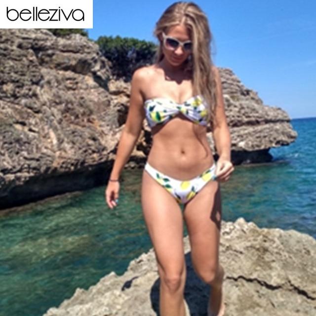 721300a89fbb0 Belleziva Lemon Print Twist Bandeau Bikini Set Summer Sexy Bikini Women  Swimwear Thong Beach Swimsuit Push