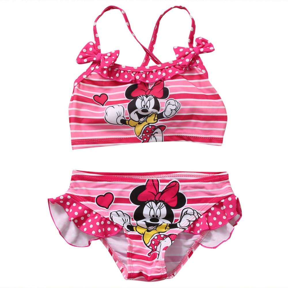 Schwimmen Hirigin Kinder Baby Mädchen Bikini Set 2019 Minnie Maus Rosa Bademode Badeanzug Badeanzug 2-7 T Nette Kawaii Beachwear-badeanzug Angenehm Bis Zum Gaumen Bikini-set