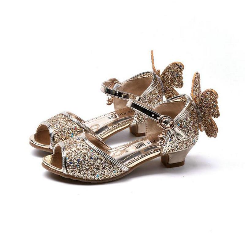 2019 модные летние сандалии для девочек, новые туфли принцессы для девочек, блестящие туфли с бантом и кристаллами, детские сандалии на высоко...