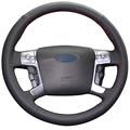 Black Artificial Leather Car Steering Wheel Cover for Ford Mondeo 2007-2012 Mk4