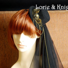 Gothic Steampunk Loita Cosplay Mini Top Hat Retro Headdress for Women BLACK RED BROWN