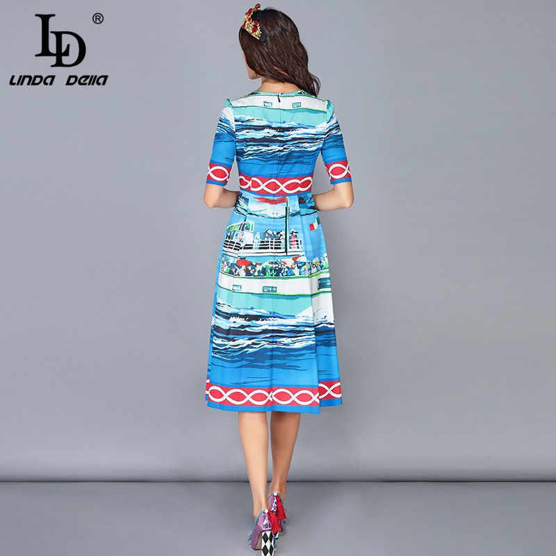 cdaa8f919e5 ... LD Linda della 2019 дизайнер сезон  весна-лето платья для женщин  женские короткий рукав ...