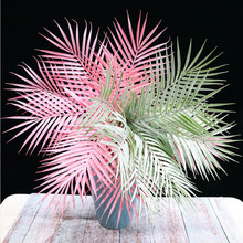 Wholesale Simulated iron Leaves green plants Fake Palm Tree Leaf Greenery for Floral flower Arrangement flore wedding decoration