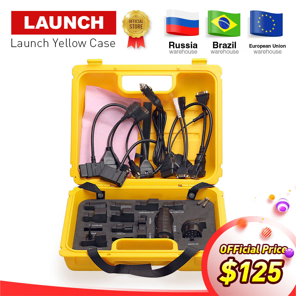 Launch X431 Diagun IV yellow case with full set cables and adapters Yellow box for x 431 Diagun IV DHL free shipping