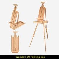 Girls' Pine Wood Stand Easel For Painting Portable Folding Wooden Easel Box Desktop Easel For Artist