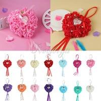 Wedding Favors Heart Shape Ring Pillow Rose Flowers Rhinestone Pearls Gift Ring Box Ring Bearer Pillow