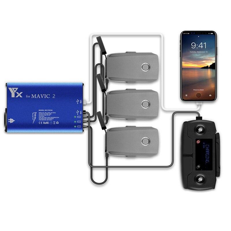 Actualización versión drones cargador de batería 3 baterías y 2 puertos USB Control remoto teléfono tableta carga para DJI mavic 2 pro zoom-in Cargadores de batería de dron from Productos electrónicos    1