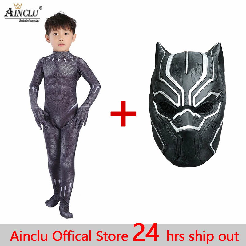 Ainclu Black Panther 2 Kid Cosplay Costumes T'Challa Cosplay Zentai Suits Kid Adults Halloween Costume hero Birthday Party Sets