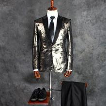 Silver Suit Metal Sense of the Night Stage Performance Costumes Men's Suits Formal Dress Ball Gown Fit Slim Men Blazer ! S-5XL