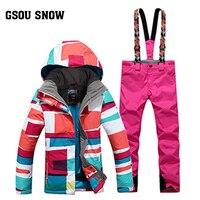 Новый Gsou снег двойной Сноуборд костюм корейские зимние утолщенные теплые ветрозащитные водонепроницаемые женские