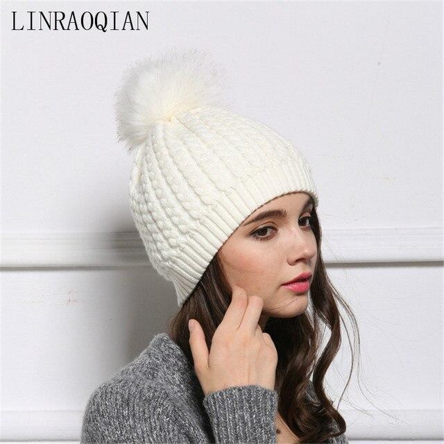 Cappello di moda femminile stile europeo americano cappelli invernali per  le donne beanie cap pompon di 9dbc2a0a012a