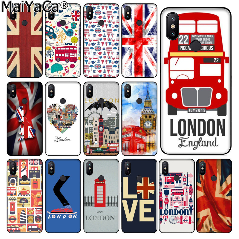 MaiYaCa I love United Kingdom London Flag DIY Phone Case cover Shell for xiaomi mi 6  8 se note2 3 mix2 redmi 5 5plus note 4 5 5