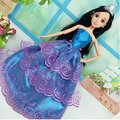 Blue Three Layers of Purple Bud Silk Model Princess Luxurious Multi-lace Wedding Party Gown Dress for Barbie Doll Clothes