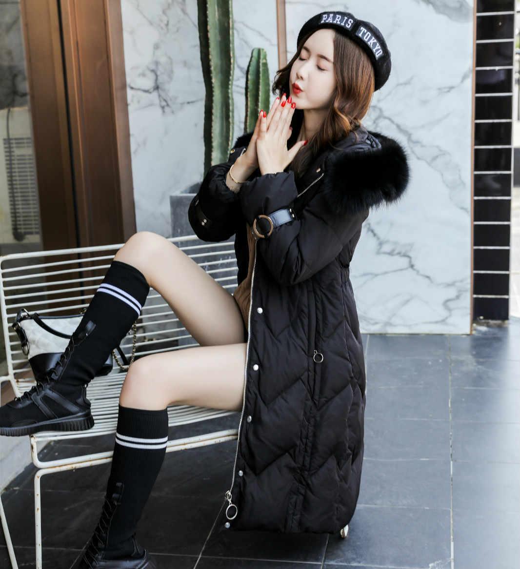 Fitaylor зимняя куртка на утином пуху для женщин большой натуральный Лисий меховой воротник длинное пальто женские парки с капюшоном Толстая Тонкая зимняя верхняя одежда