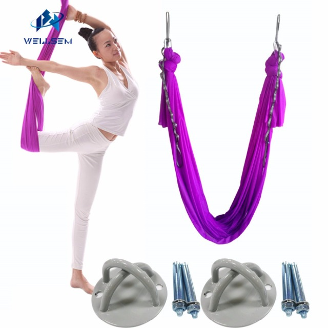 Medium image of top  plete set 5 5yard aerial anti gravity yoga hammock swing for pilates   shaping