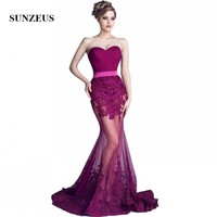 Mermaid Sheer Bottom Bridesmaid Dresses Sexy Formal Dresses Sweetheart Long Purple Party Dress With Appliques SBD81
