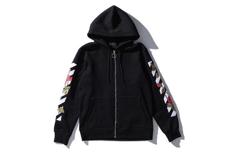 Aolamegs Men Hoodies Fashion Vintage Floral Embroidery Cardigan Jacket Hooded Zipper Outwear Off White Couples Red Black Hoodie (2)