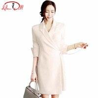 2017 Autumn Women OL Brief Slim Blazer Dress Full Sleeve Turn Down Collar Casual Solid Long