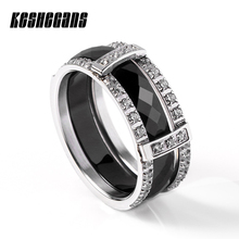 New Design 2pcs/Set Ceramic Stainless Steel Ring With Shining Crystal Combination Ring Set Black White Color For Women Lady Gift