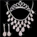 Nuevo cristal del Rhinestone collares + Earring + corona novia del palillo del pelo sistemas de la joyería para novia de la boda