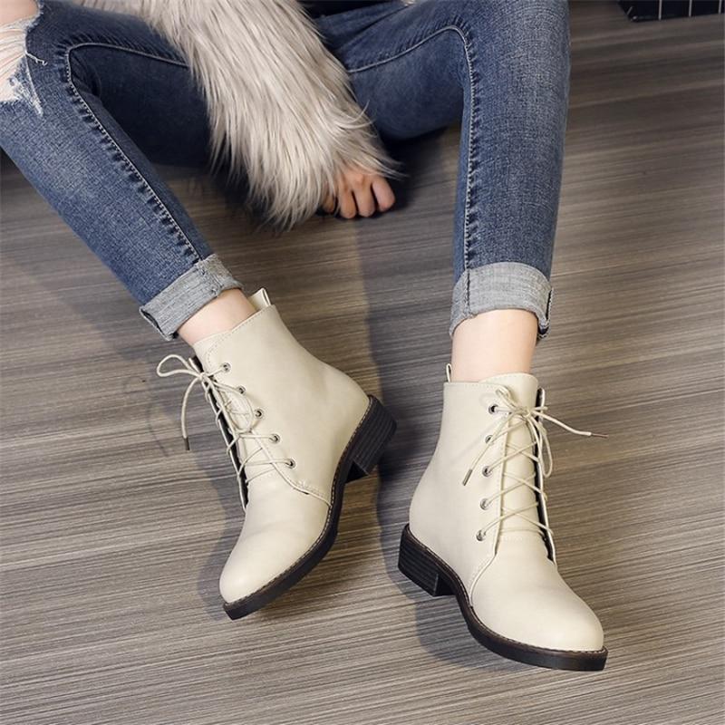 Punta Zapatos Talones Cuadrados Conciso 2018 negro Goma Beige marrón Botines De Redonda Mujeres Botas Moda Casual Góticas Plataforma Felpa Encaje Ocqbi zExqSwWFax