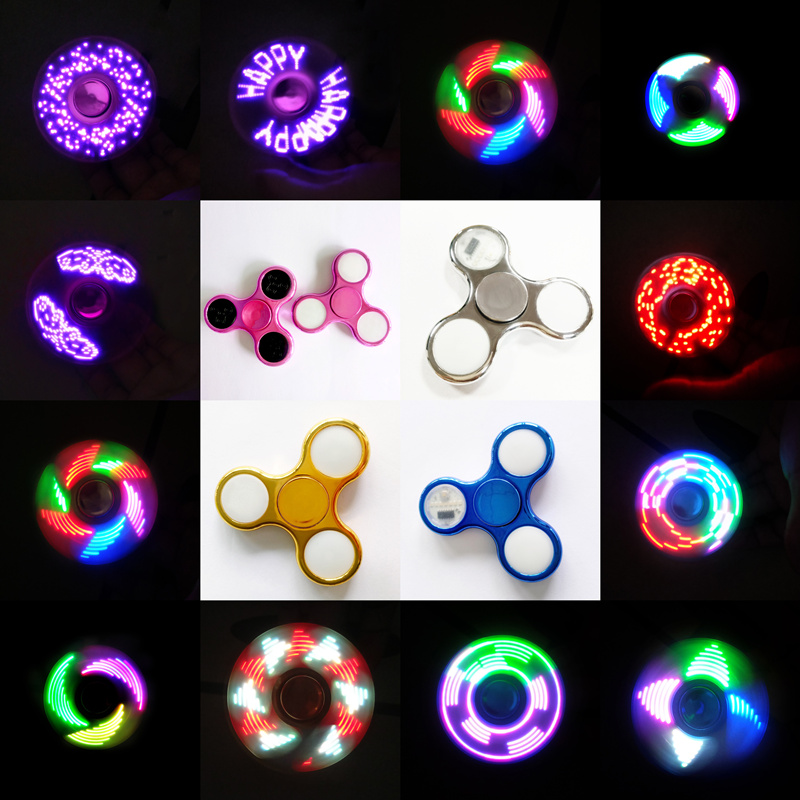 2017 New Hot Fidget spinner 8-color Glow in the dark Fashion Hand spinner lights LED Cool stickers toys Gift spinner Finger Gyro 2017 glow in the dark toy fidget spinner long lasting stress relief toys finger spinner perfect birthday gift hand spinner