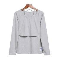 New Modal Plain Maternity Clothes Long Sleeve Breastfeeding Tops AK364