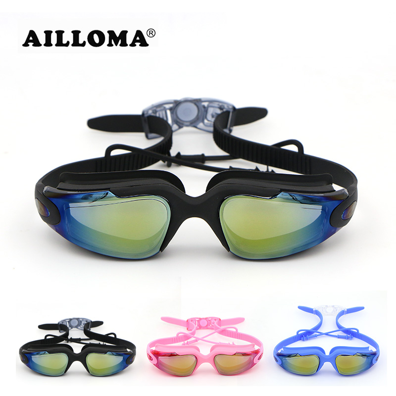 AILLOMA Ear Plug Swimming Goggles Adjustable Male Female Underwater Glasses Anti-Fog UV400 Eyewear Swim Mask Sport Equipment