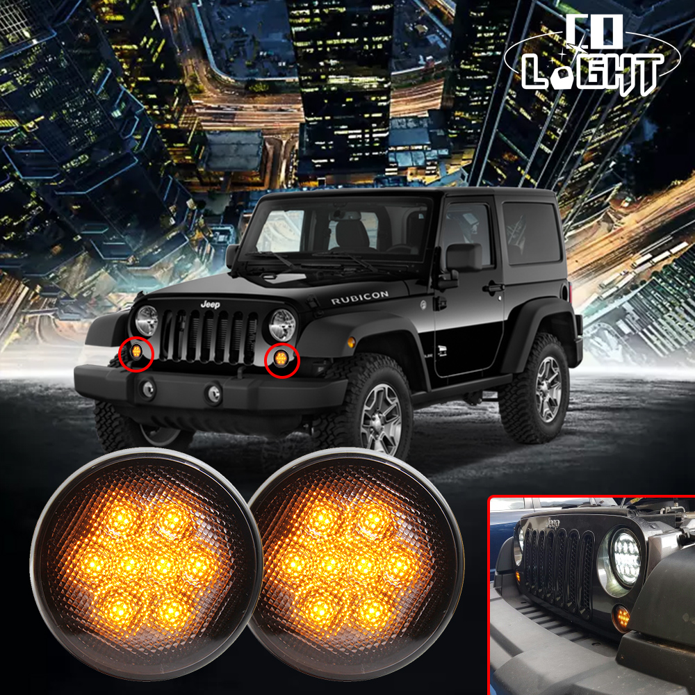 COLIGHT 4PCS/Lot LEDs Light Amber Front Fender LED Side Light Parking Turn Lamp For Jeep Wrangler 07-16 4X4 Off Road 12V 24V 1pair led side maker lights for jeeep wrangler amber front fender flares parking turn lamp bulb indicator lens