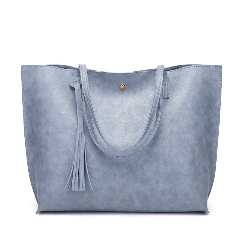 Big Handbag Women Large Bucket Tassel Shoulder Bag Female PU Leather Tote Bag Top-Handle Bag