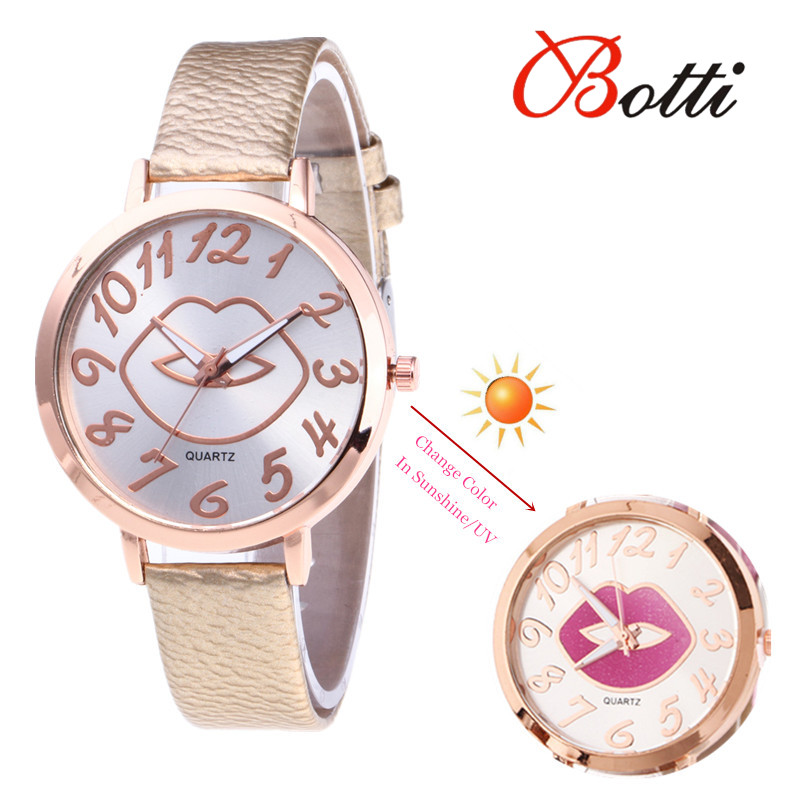 Fashion Women <font><b>Watch</b></font> Change Color In the Sunshine <font><b>Watch</b></font> Women Dress Wristwatch Casual <font><b>Sex</b></font> Lip Leather Quartz <font><b>Watches</b></font> reloj mujer image