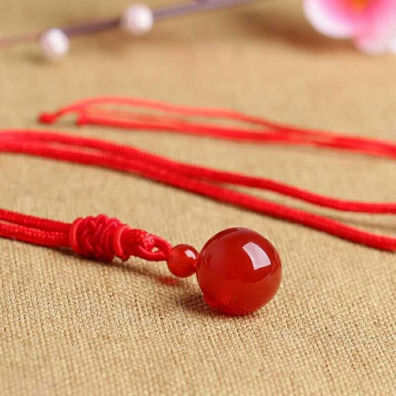 Natural Stone Agate Beads Ball Pendant Transfer Lucky Love Crystal Jewelry 16MM With Free Rope For Women And Men