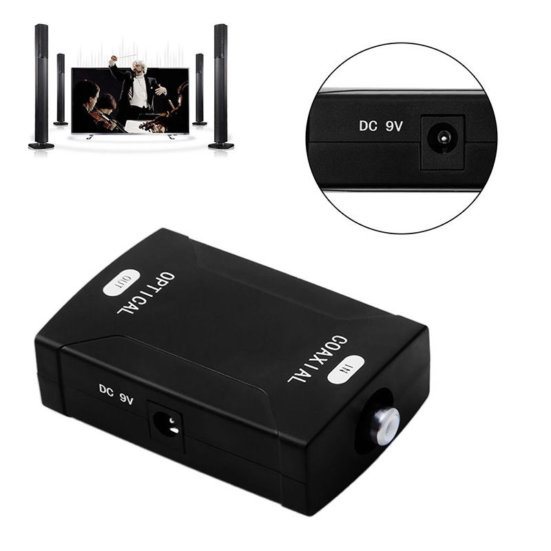 Optical Toslink input Coaxial RCA Output Jack Digital Converter Adapter With DC 9V Power Cable