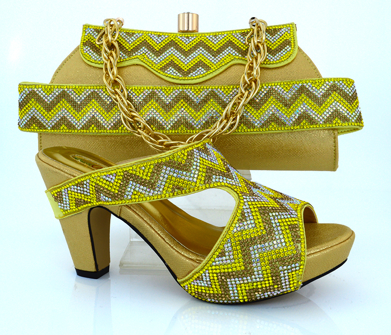 ФОТО New fashion gold color high heels women pumps glitter shoes italian design shoes with matching bags MM1010 Gold