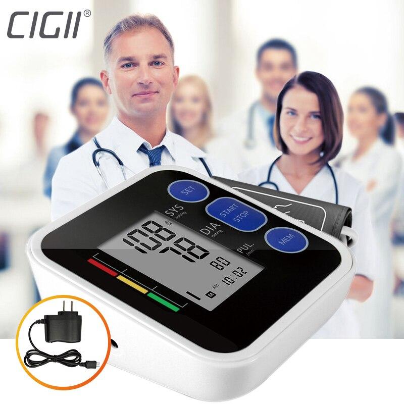 Cigii superior de presión arterial de brazo pulso monitor LCD portátil salud 1 piezas Digital tonómetro de oxímetro de pulso
