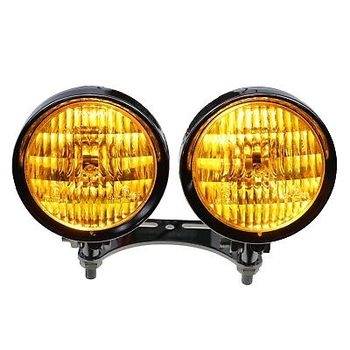 Amber Bottom Mount Dual Metal Headlight Cruiser Chopper Vintage Retro Custom CB