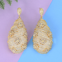 GODKI Trendy Luxury Waterdrop Flower LongDangle Earring for Women Wedding Full Micro CZ Cubic Zircon Indian Dubai Gold Earrings