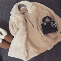 Для женщин искусственного кролика волосы Мех животных пальто Модная одежда с длинными рукавами осень-весна женские длинные теплая плотная ...