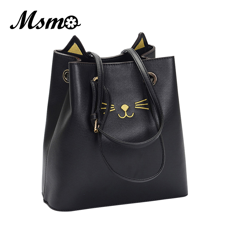 MSMO 2017 Sailor Moon Bucket bag Samantha Luna Style Cat Ladies Hand Bags Kitty Cat Bag Women Messenger Crossbody Tote Bag