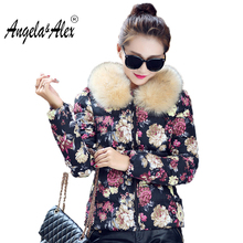 2017 Winter Cotton Coat New Fashion Women Elegant Printing Jacket Thick Warm Detachable Fur collar jacket Large size Women coat