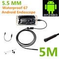 Android endoscopio USB 6 LED 5.5 mm lente impermeable boroscopio inspección de tubos de cámara con 5 M Cable