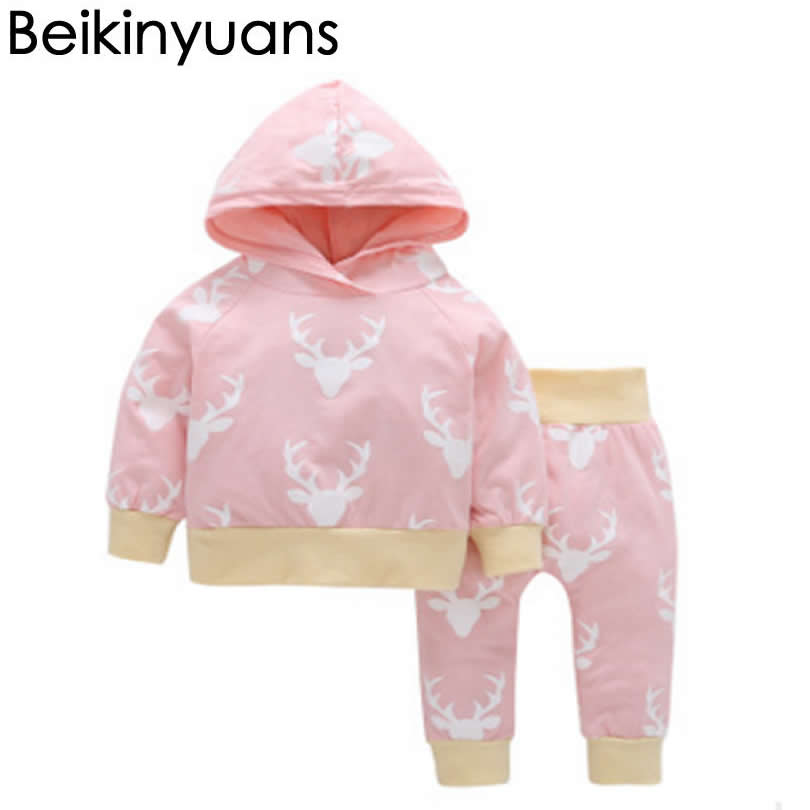 Baby Infant Clothes elk Hooded Jacket+Trousers Suit Cartoon Soft Cotton Baby Boys Girls Clothes Suit Hooded Newborn Outfits Set