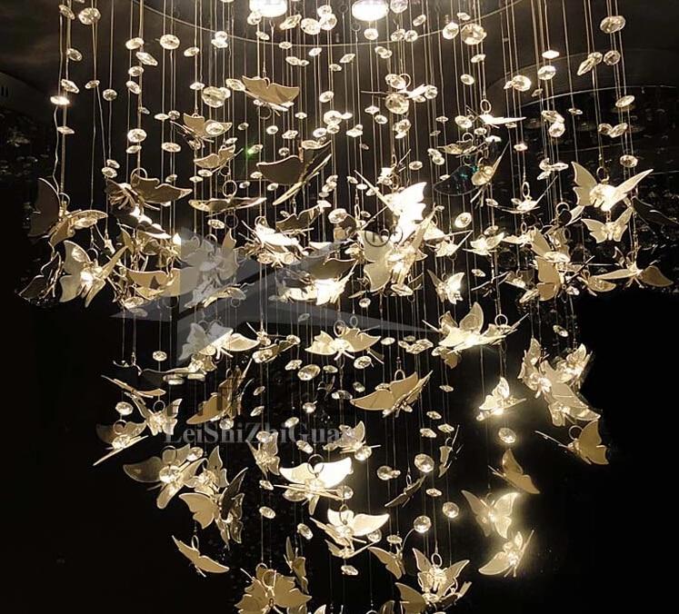 New Modern K9 Crystal Pendant Lights Chrome Butterfly Home ...