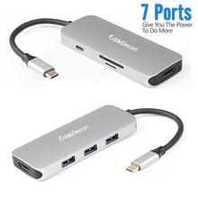 Thunderbolt 3 USB C Hub Type C Adapter to HDMI 4K USB 3.0 Converter SD Card USB C HUB for Macbook Pro 2017 Dell