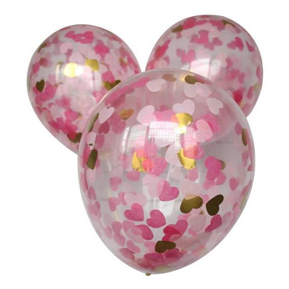 rosa gold herz konfetti luftballons f r party hochzeit braut dusche 12 zoll pack von 6 in rosa. Black Bedroom Furniture Sets. Home Design Ideas