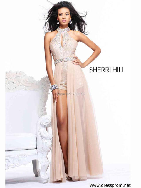 608a3f784648 2014 Free shipping New Arrival Sexy Sequin Romper Prom Dress With Long  Overskirt