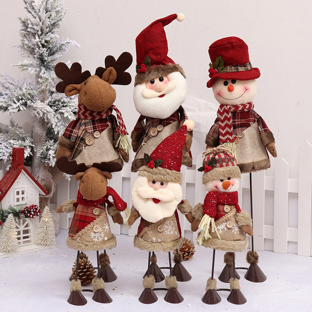 christmas decorations standing shoes snowmen old people dolls creative dolls