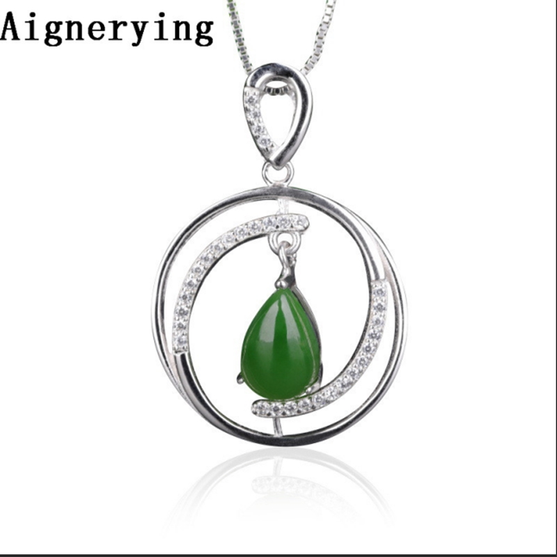 Certificate Vintage S925 silver Green inlaid Natural Jade Collar Pendant Necklaces for Women Necklace Bijou Gift BoxCertificate Vintage S925 silver Green inlaid Natural Jade Collar Pendant Necklaces for Women Necklace Bijou Gift Box