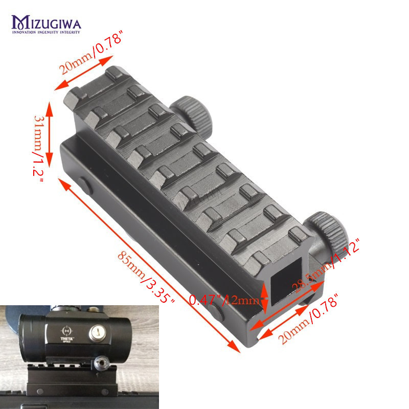 MIZUGIWA Tactical 8 Slot See-Thru Flat-Top Riser Base AR Dovetail Weaver Scope Mount Picatinny Adapter 20mm Dovetail Rail