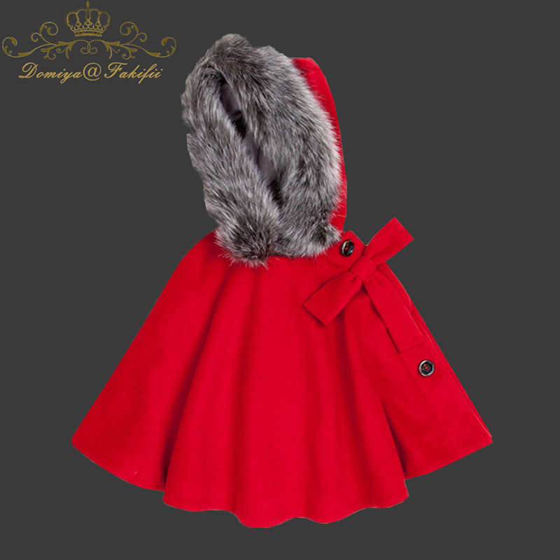 2018 Autumn Winter Girls Kids Baby Outwear Cloak Button Jacket Warm Coat Clothes Girls Cape Cloak Children's Clothing Clothes halloween sale sky blue flower girl faux fur cloak cape kid stole jacket hooded wrap bolero with hand muff coat evening outwear